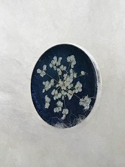 Queen Anne's Lace Resin Brooch