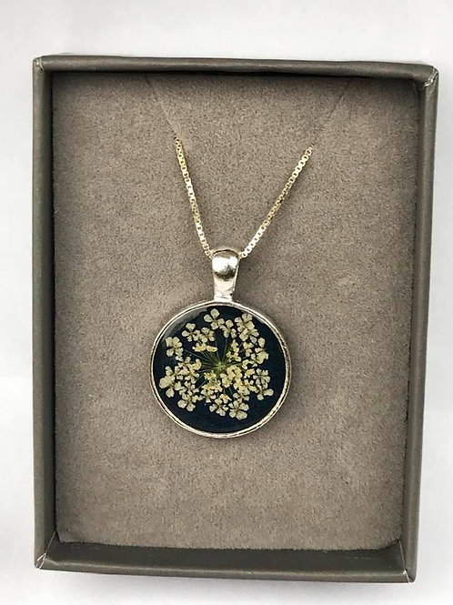 Queen Anne's Lace Resin flower Pendant
