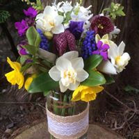 Jam jar posy of British seasonal flowers