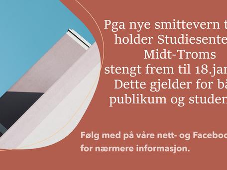 Studiesenteret holder stengt  frem ut 18.januar!