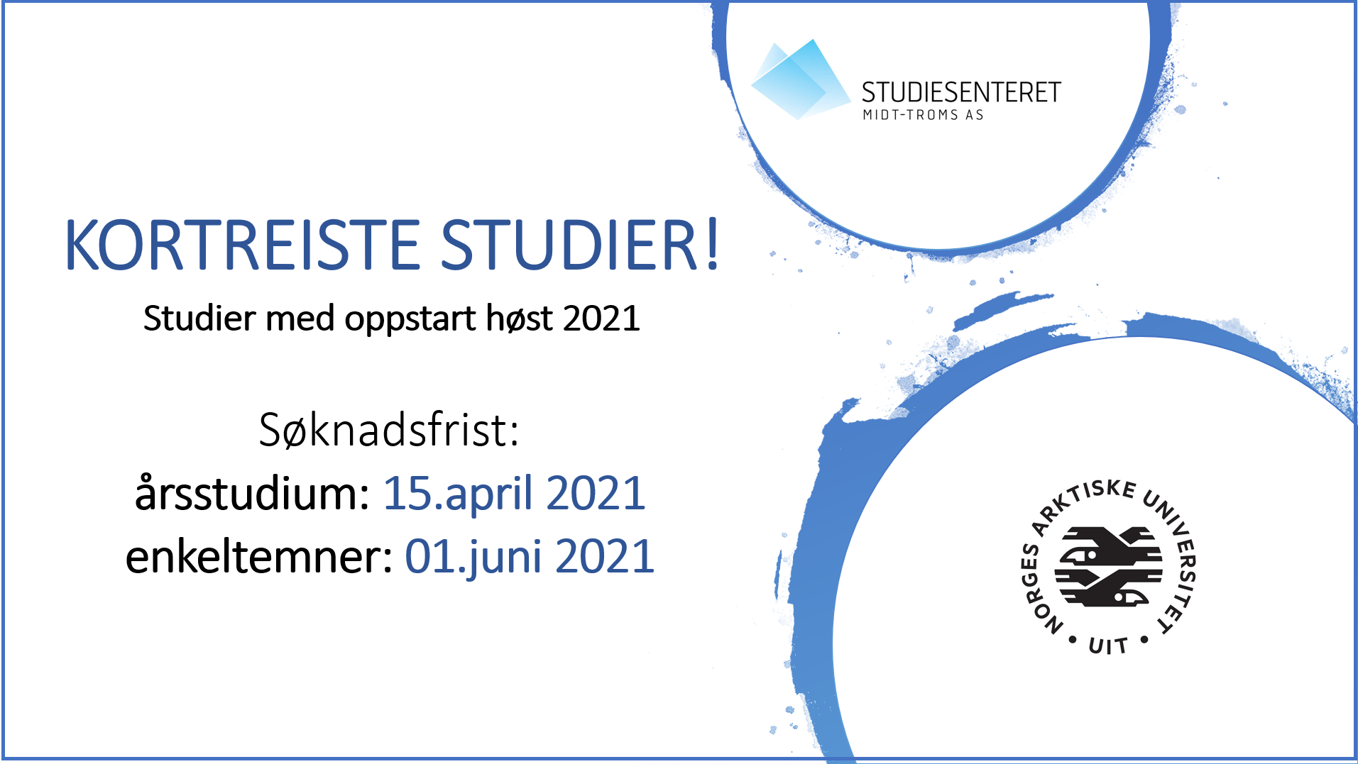 kortreiste studier 2021 annonse