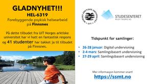 Gladnyhet! HEL-6319 Forebyggende psykisk helsearbeid på Finnsnes!