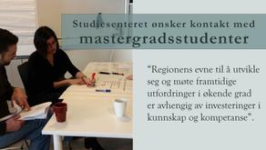 Studiesenteret ønsker kontakt med mastergradsstudenter
