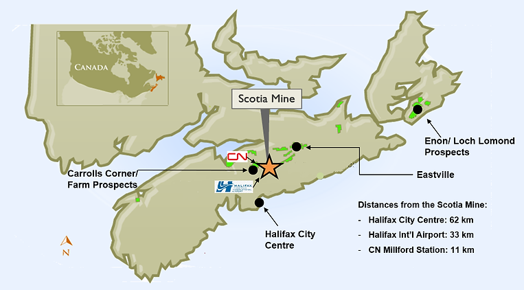 Figure 4-1 (PFS) - Scotia Mine Location.