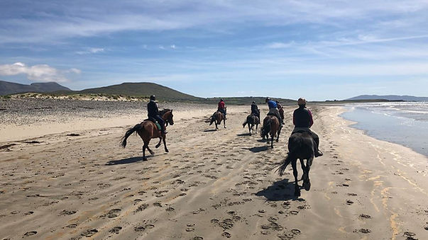 Galloping on Carrowniskey Beach on the Clew Bay Trail Ride.