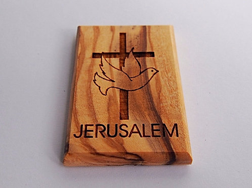 Cross and Dove Olive Wood Magnet