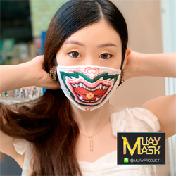 หน้ากากผ้าเซทหนุมานสีขาวปากอ้า