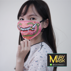 หน้ากากผ้าหน้ายักษ์สีชมพู