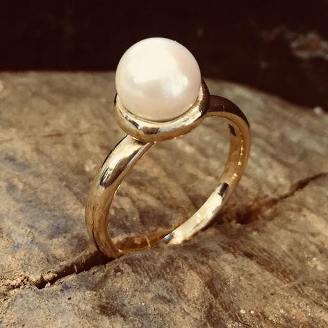 ALGULD, GULDRING MED KULTURPERLE, håndlavet perlering, ægte perler