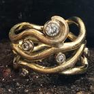 mat guld diamantring, forlovelsesring, vielsesring, kraftig diamantring, rusti