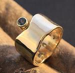 Guldring med turmalin alguld, forlovelsesring billig, ring 8 karat guld, alguld, bio guld