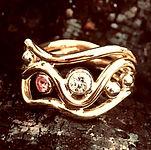rustik diamantring, pink diamant, rosa diamant, alguld, håndlavet diamantring