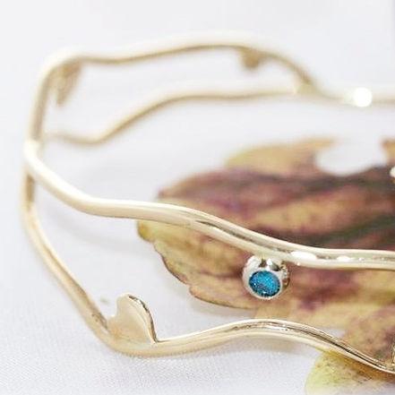 Guldarmbånd unika design, blå diamant, diamant armbånd, guldarmbånd, alguld, guldsmed århus