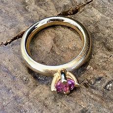 ALGULD guldring med farvet sten