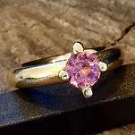 guldring med turmalin alguld, prinsessering, pink sten