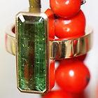 Guldring med turmalin, renæssance ring, rektangulær sten, guldring grøn sten, unik guldring, grøn turmalin ring, alguld, guldsmed i århus