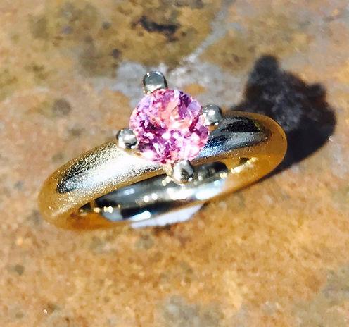 Forlovelses ring, pink turmalin, lyserød turmalin