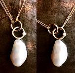 barokperle vedhæng, håndlavet perlevedhæng, perle diamant vedhæng, guldvedhæng pele diamant, alguld