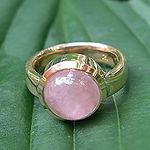 guldring med rosaquarts, alguld, rosenkvarts ring, rosaquarts guldring, guldsmedeværksted århus