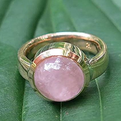 Guldring med rosaquarts ALGULD