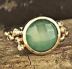 renæssance ring, diamantring, guldring med chalcedon, bioguld, omsmeltet guld, alguld, forlovelsesring, vielsesring