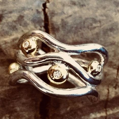 alguld sølvring med diamant