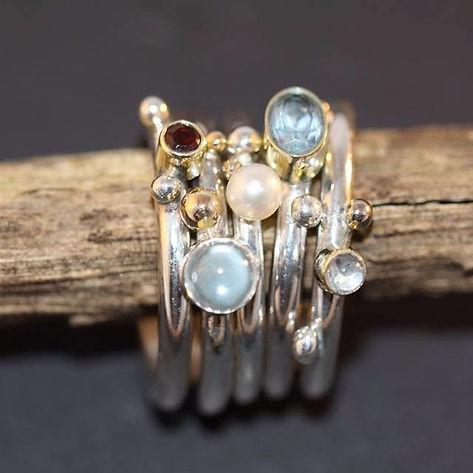 alguld sølvringe med sten og perler