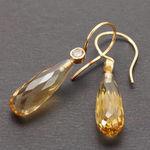 gyldne diamanter øreringe, øreringe gylden kvarts, diamant øreringe, gul diamant, alguld, unikke øreringe