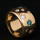 Guldring med farvede diamanter ALGULD, blå diamanter, guldring med blå diamant