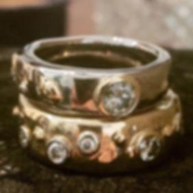 kraftige vielsesringe, forlovelsesring, unik diamantring