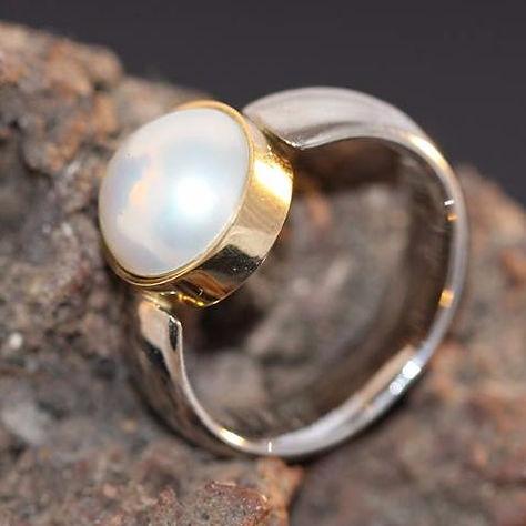 Hvidguldsring med perle
