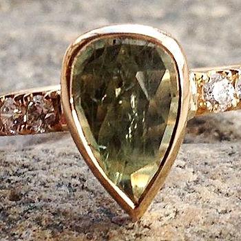 guldring grøn safir, diamantring med safir, safirring, alguld, prinsessering, vielsesring, forlovelsesring