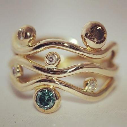 unika guldring blå diamant alguld