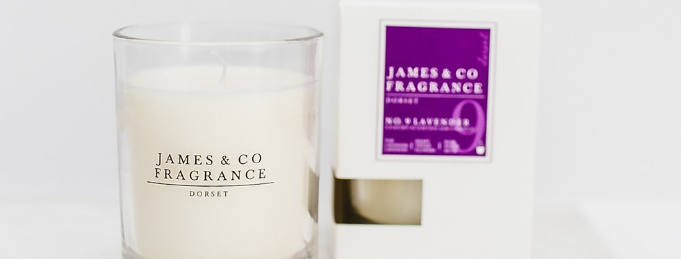 No. 9 Lavender Glass Candle 35 hours burn time