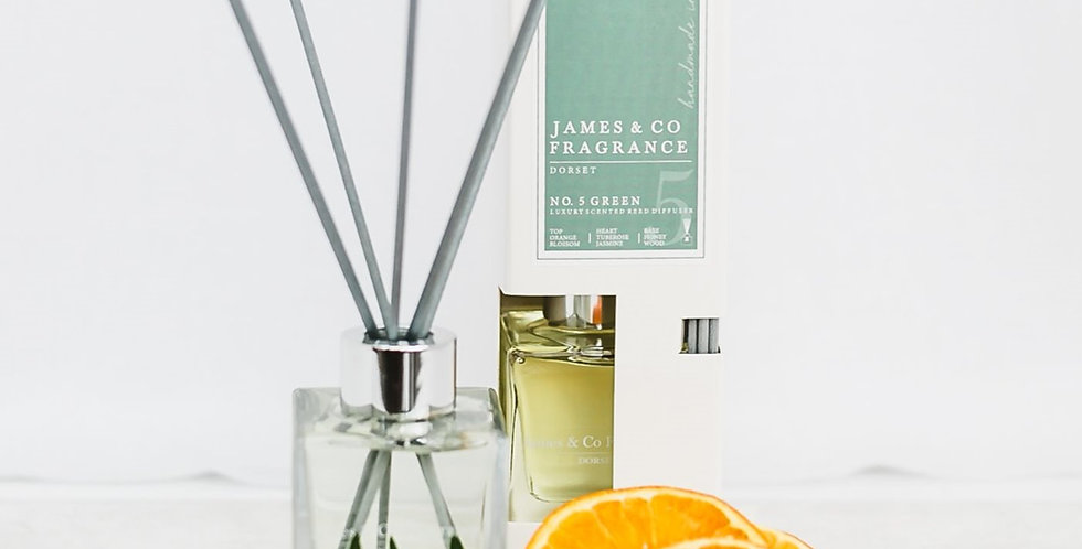 No. 5 Green  (Cotton Flower, Orange Blossom and Thistle) 100ml Reed Diffuser