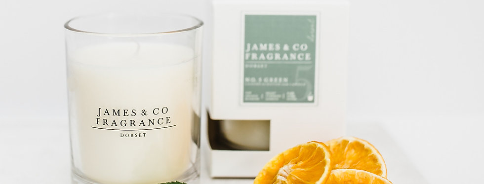 No. 5 Green Glass Candle 35 hour burn time
