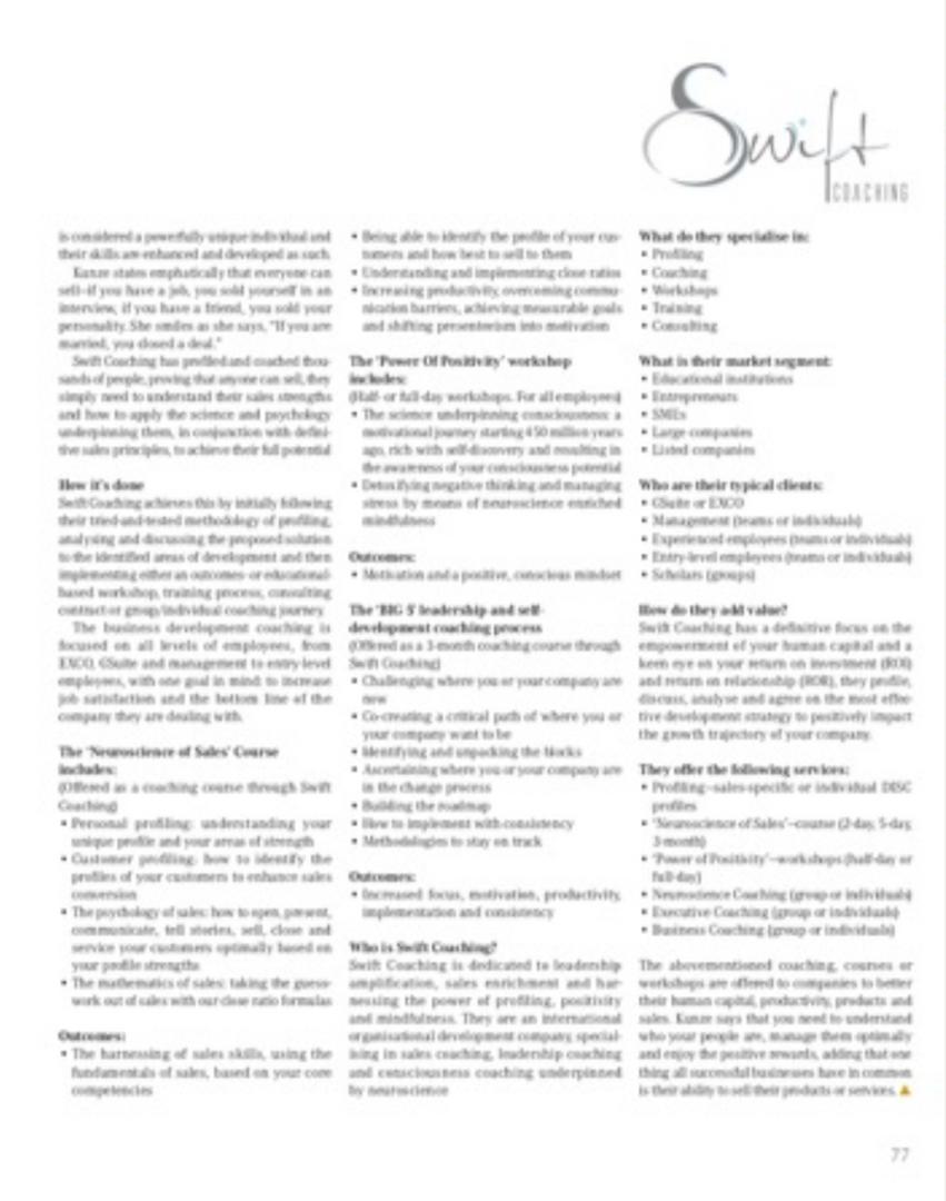 Leadership magazine feature Tanya Kunze