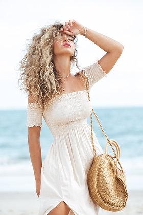 Vestido Hera Nude com Dourado