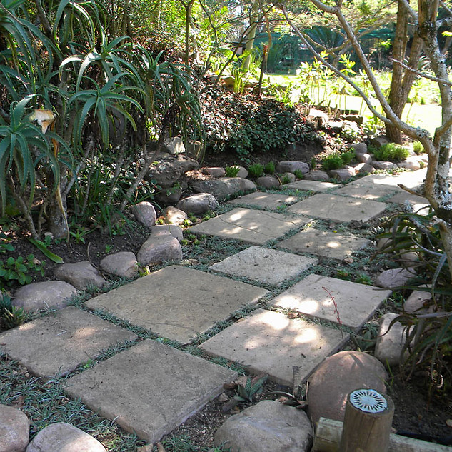 An attractive mix of materials for a short pathway