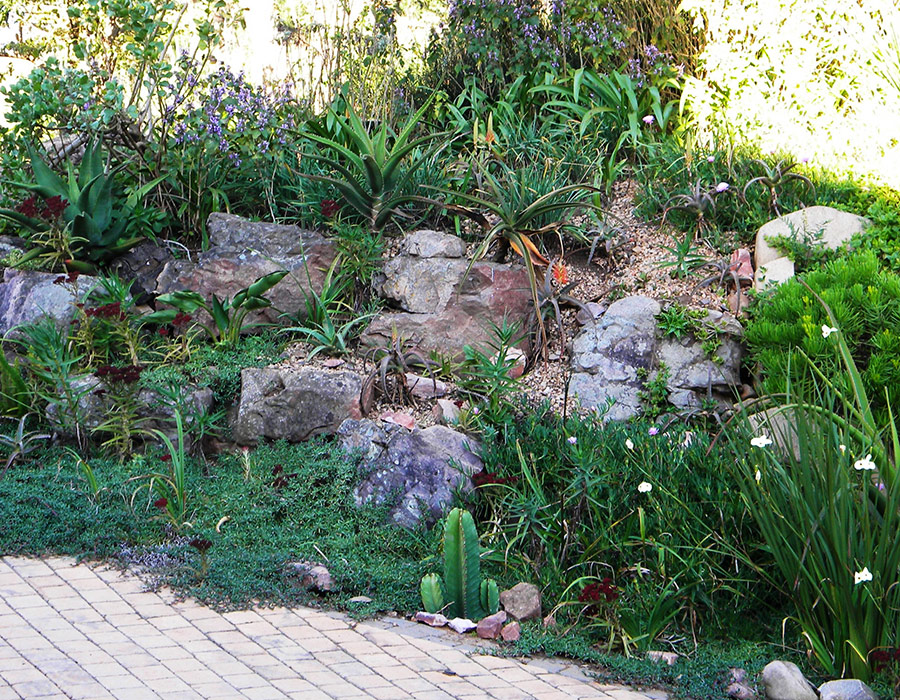 Build a rockery into the slope