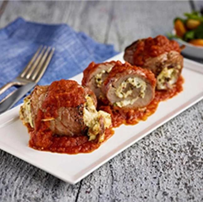 Italian style pork loin roulade