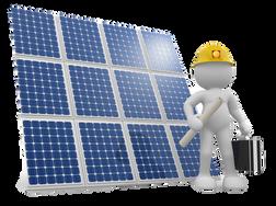 Projetista de energia solar junto a um painél fotovoltaico. placa solar