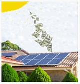 Dinheiro cai do céu, casa com painél solar, placa solar