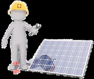 profissional instalador de painéis solares trabalhando na montagem de gerador solar fotovoltaico