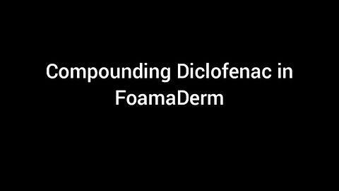 Compounding diclofenac in FoamaDerm is easy, just weig the powder and add it to bottle and gently shake. Diclofenac normally dissolves in 15-20 minutes. The final product is easily spreadable and non-greasy foam.