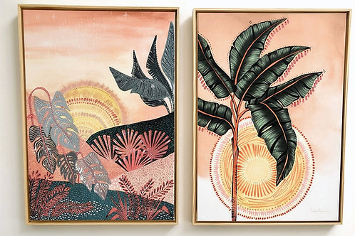 Dupla Pôr do Sol e Dusky Tropic em Canvas e Moldura Flutuante