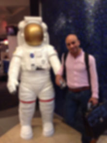 A photograph of Ahmed Hankir at the NASA Space Museum
