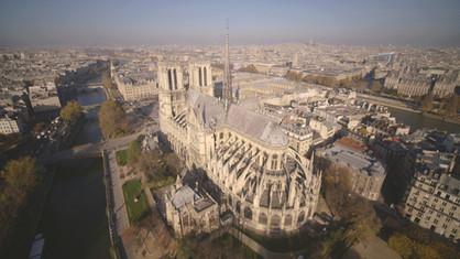 Cathédrale Notre dame paris drone