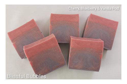 Cherry, Blueberry & Vanilla Pod soap slice