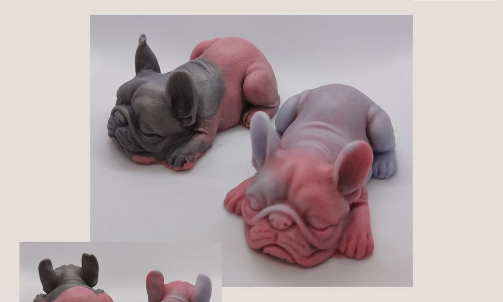 Two colour French Bulldog soap